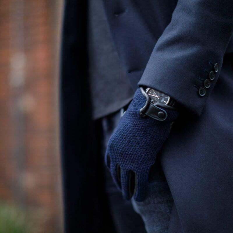 Dark blue gloves for men napoWOOL