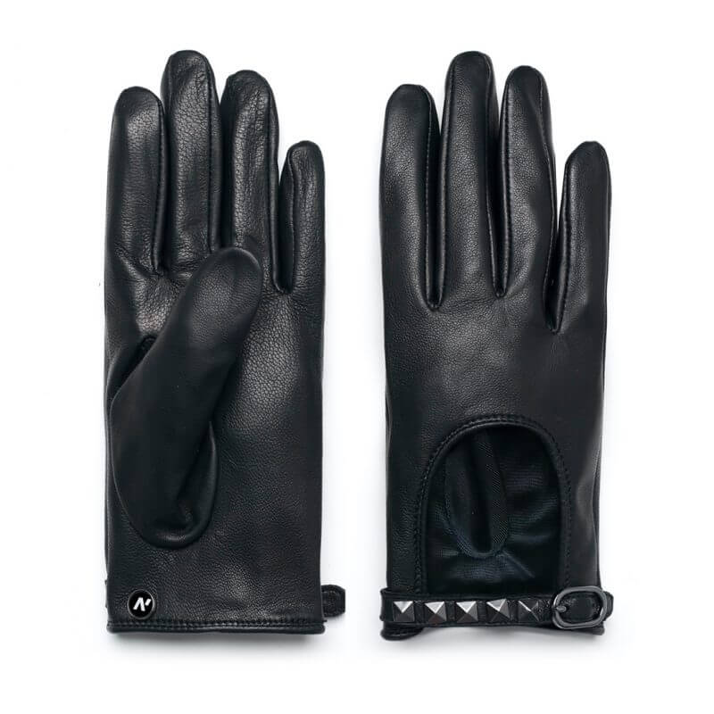 napoROCK (black) - Women's driving gloves with thin lining made of natural lamb nappa leather #2