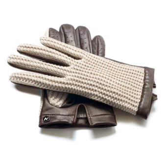 napoCROCHET (brown/beige) - Men's driving gloves without lining made of lamb nappa leather