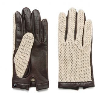 napoCROCHET (brown/beige) - Men's driving gloves without lining made of lamb nappa leather #2