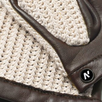 napoCROCHET (brown/beige) - Men's driving gloves without lining made of lamb nappa leather #3