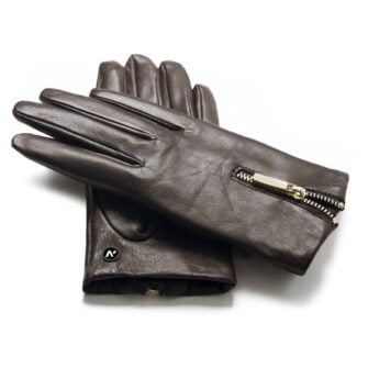 napoDONNA brown gloves with zipper