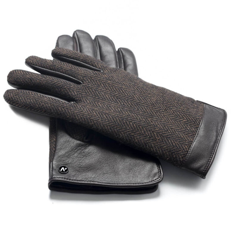 napoGENT (brown) - Men's gloves with lining made of lamb nappa leather with