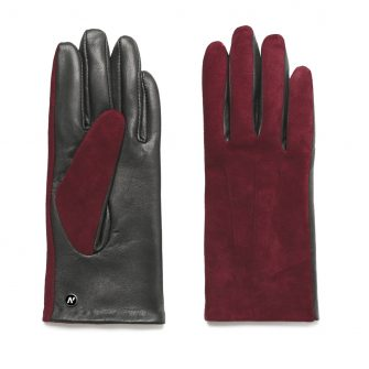 napoROSE (black/wine) - Women's gloves with lining made of lamb nappa leather #2