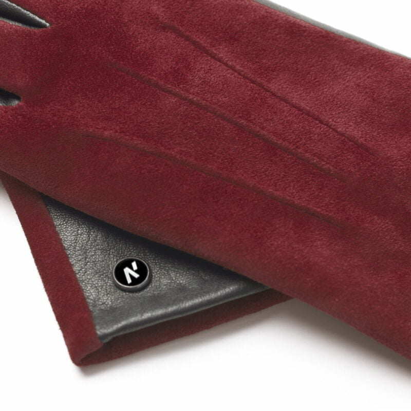 napoROSE (black/wine) - Women's gloves with lining made of lamb nappa leather #3