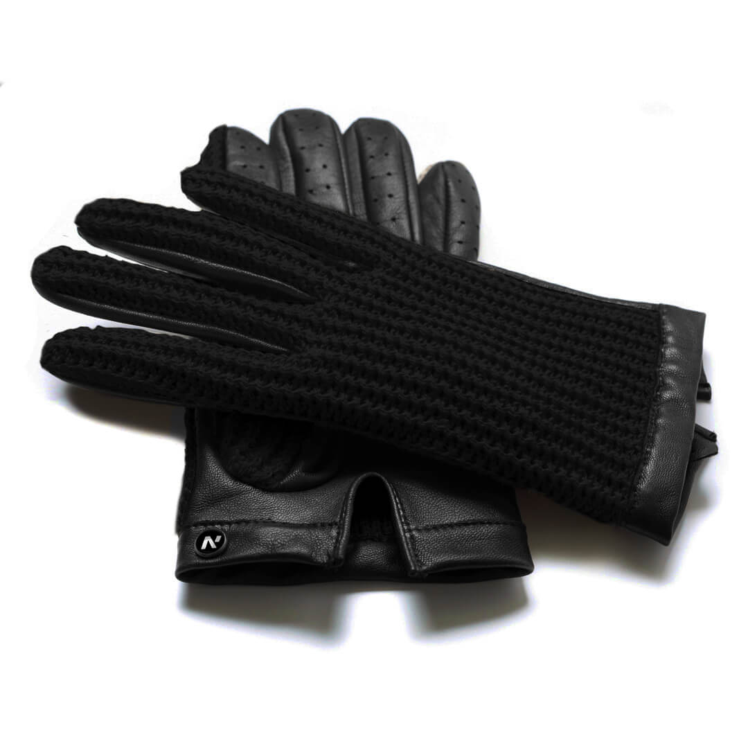 napoCROCHET (black) - Men's driving gloves without lining made of lamb nappa leather