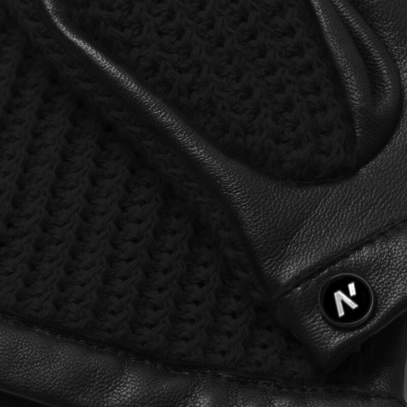 napoCROCHET (black) - Men's driving gloves without lining made of lamb nappa leather #3