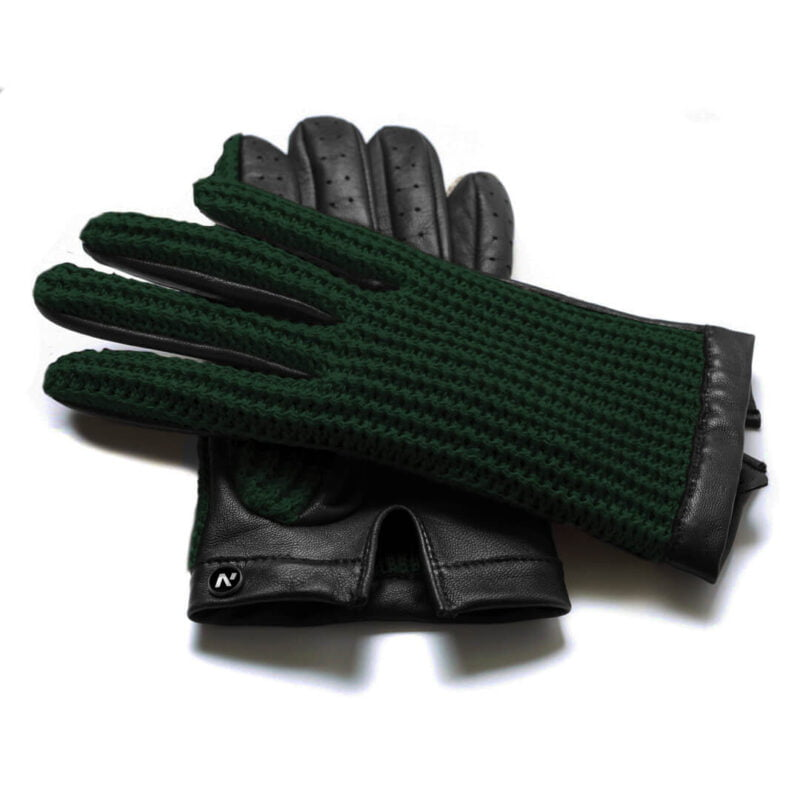 napoCROCHET (black/green) - Men's driving gloves without lining made of lamb nappa leather