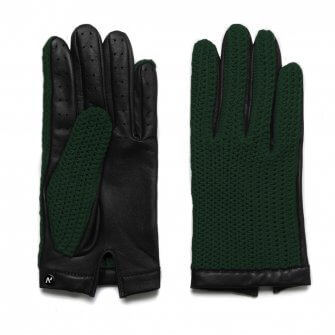 napoCROCHET (black/green) - Men's driving gloves without lining made of lamb nappa leather #2