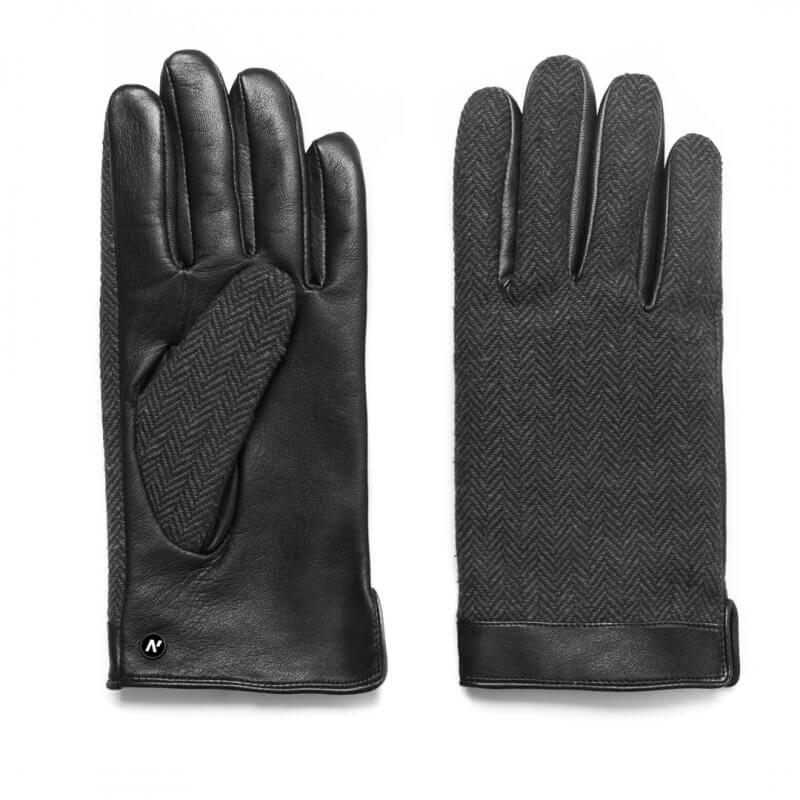 napoGENT (black/grey) - Men's gloves with lining made of lamb nappa leather #2