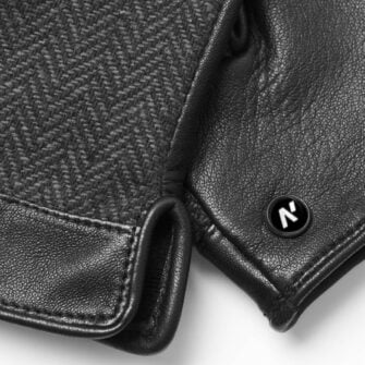 napoGENT (black/grey) - Men's gloves with lining made of lamb nappa leather #3