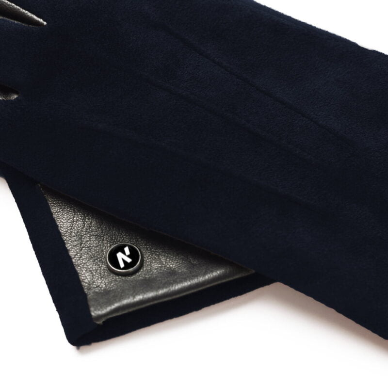 napoROSE (black/dark blue) - Women's gloves with lining made of lamb nappa leather #3