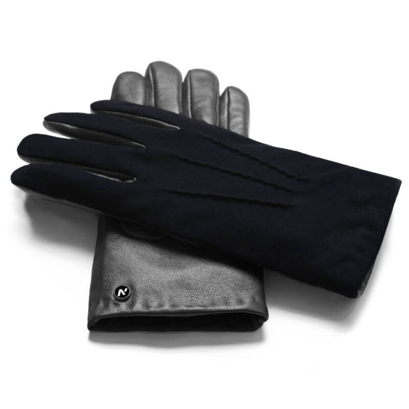 napoSUEDE (black/dark blue) - Men's gloves with cashmere lining made of lamb nappa leather