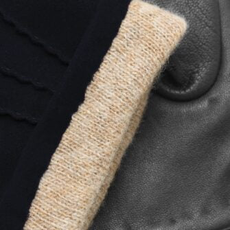 napoSUEDE (black/dark blue) - Men's gloves with cashmere lining made of lamb nappa leather #3