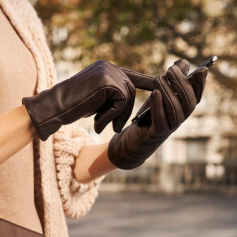 napoCLASSIC elegant brown gloves for women