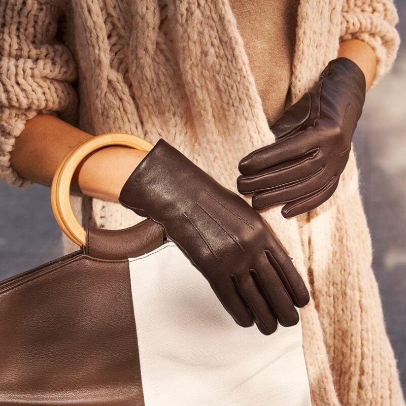 napoCLASSIC elegant brown gloves for women