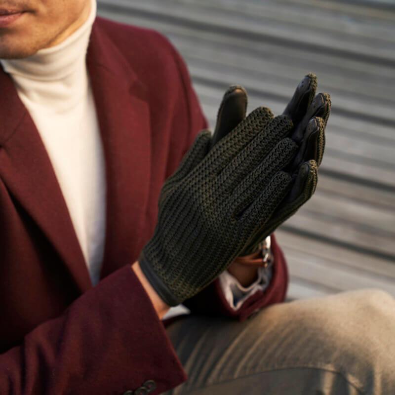 napoCROCHET green crochet gloves for men
