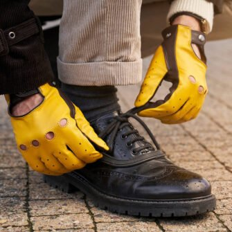 napoDRIVE yellow driving gloves