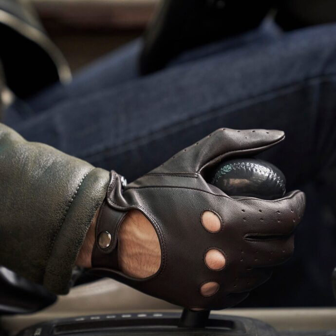 napoDRIVE brown classic driving gloves men