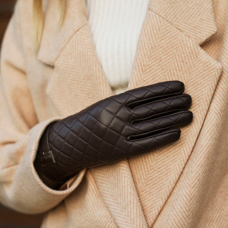 napoELEGANT quilted brown women gloves