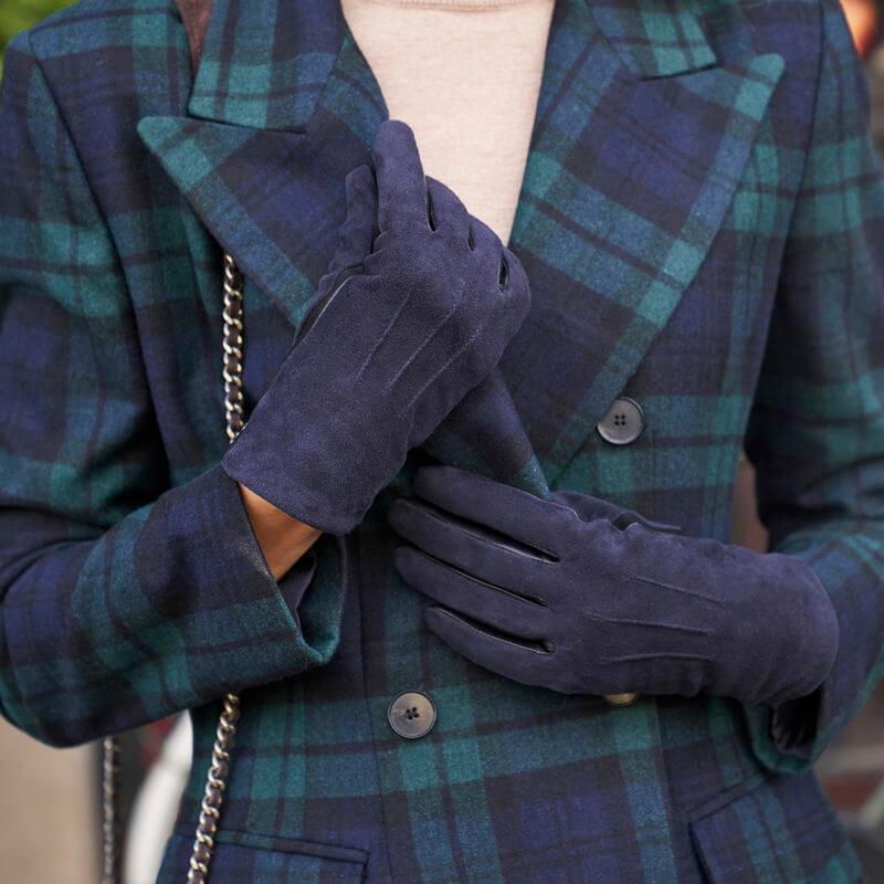 napoROSE - blue winter gloves for women