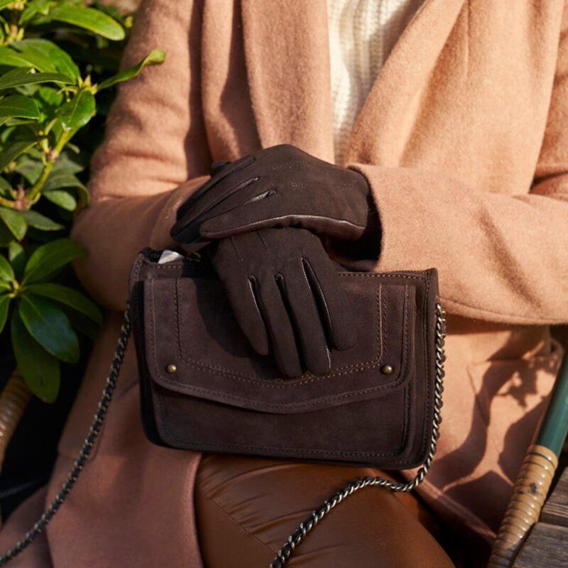 napoROSE brown suede gloves women