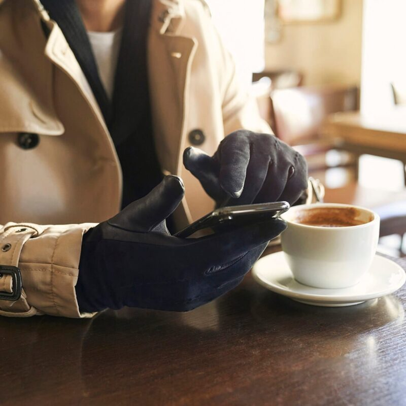 napoSUEDE - elegant navy gloves for men