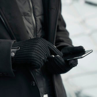 napoWOOL - black winter gloves for men