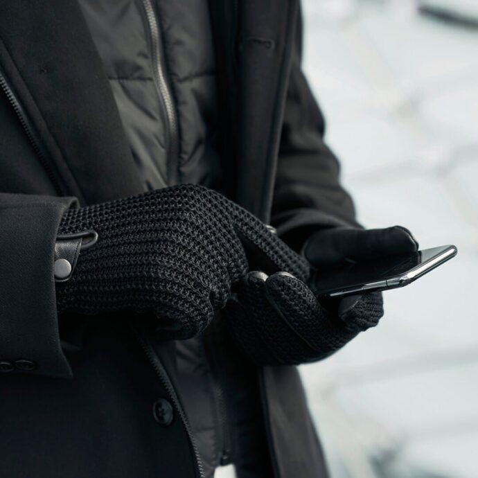 napoWOOL - black winter gloves for men