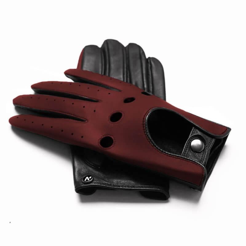 Dark red driving gloves