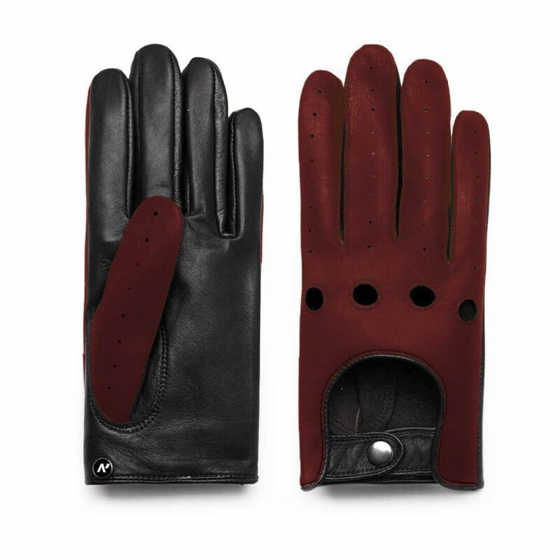 Dark red driving gloves for men