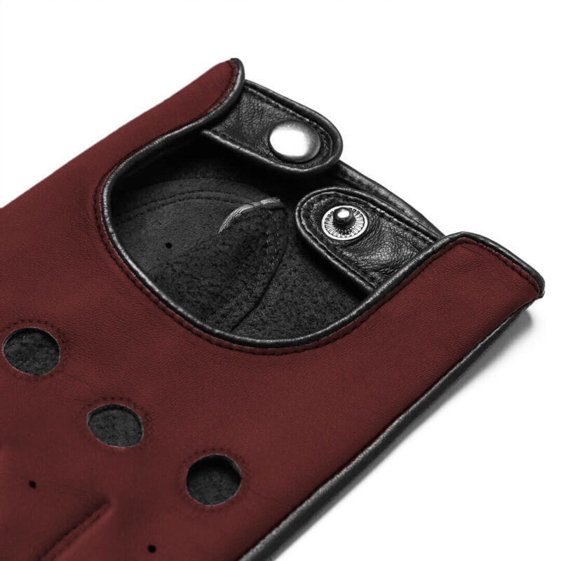 Dark red driving gloves from leather
