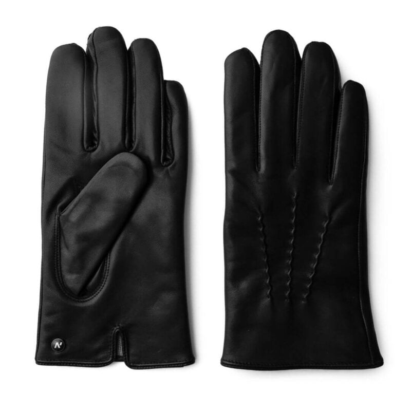 Black winter gloves with cashmere lining for men