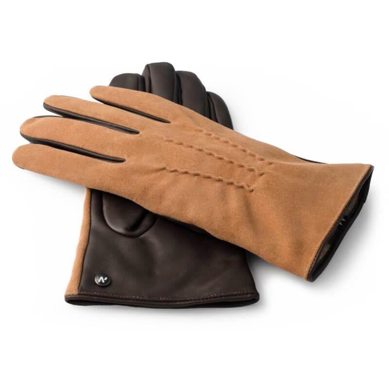Camel suede gloves