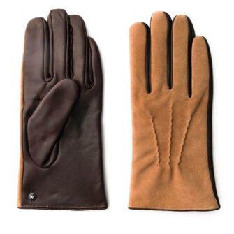 Camel suede gloves for men