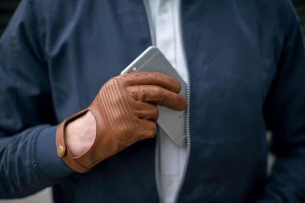 Skórzane rękawiczki męskie z obsługą telefonu